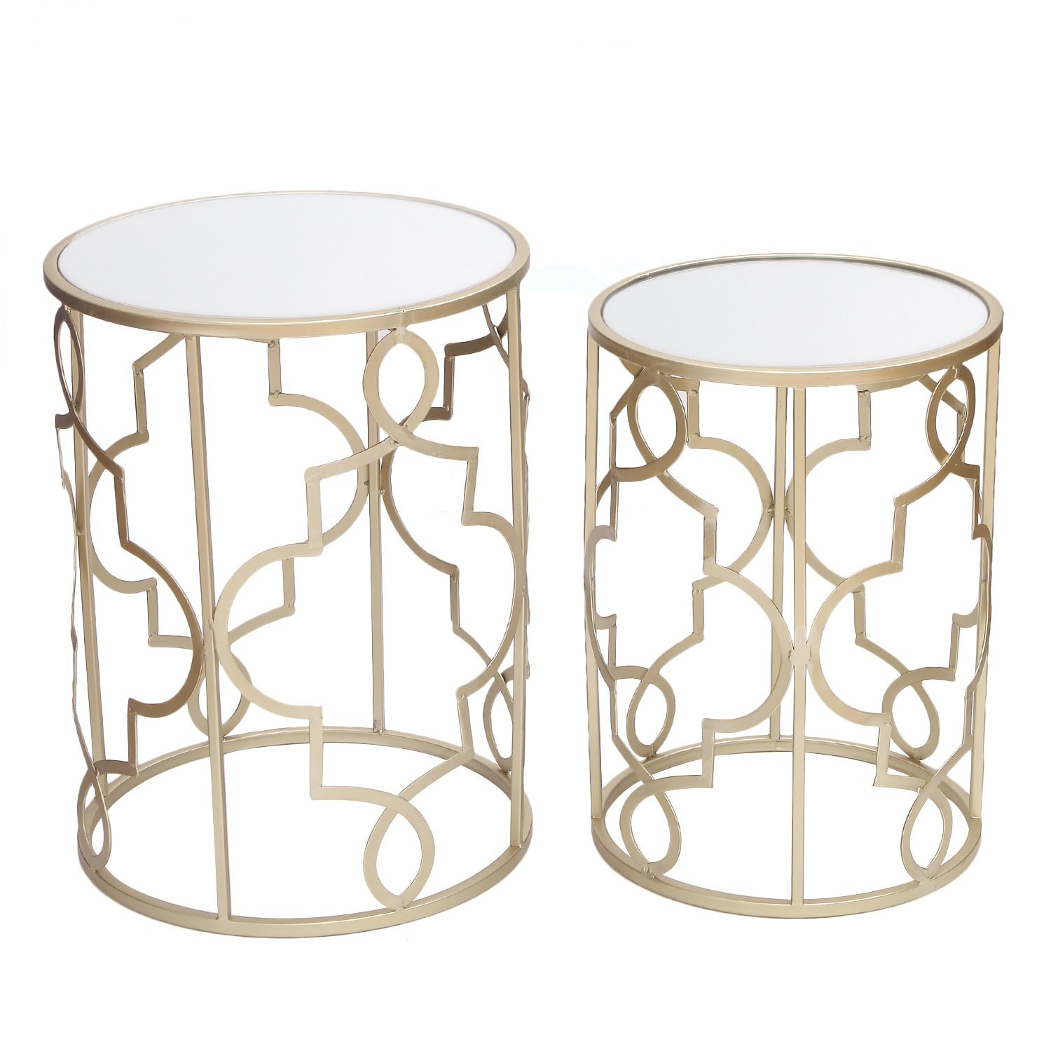 Adeco FT0126 Classic Side Set (2 Pcs)-Gold Nesting Tables, by Adeco