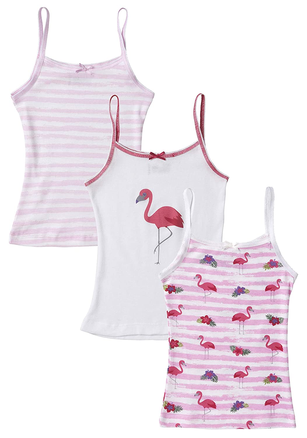 Sportoli Girls 3 Pack 100% Cotton Tagless White and Flamingo Cami Undershirts