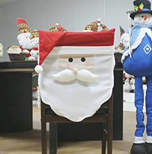 ELFJOY Christmas Santa Claus & Snowman Chair Back Covers for Xmas Holiday Festive Decor (Santa Claus)