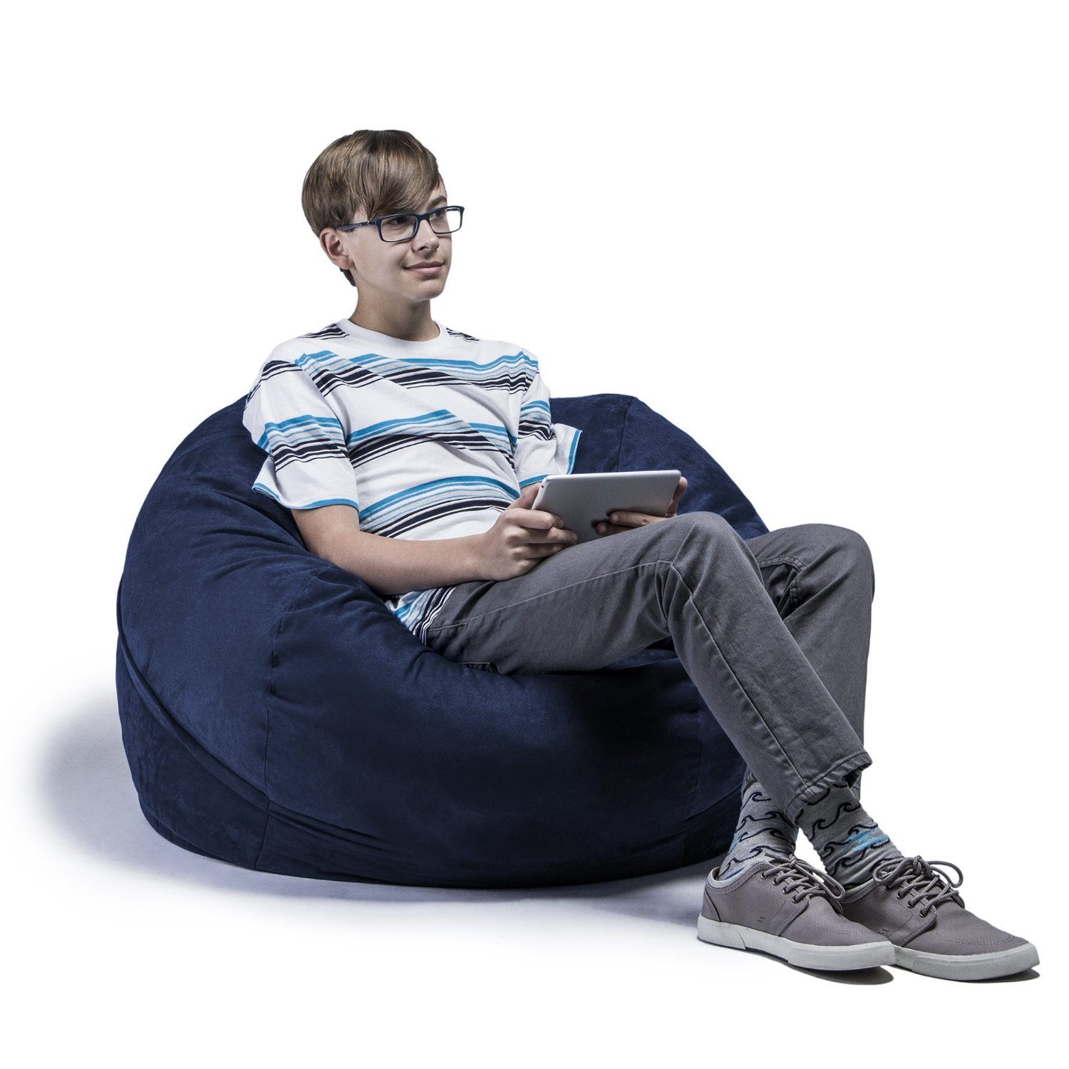 Jaxx Bean Bag Chair with Removable Cover, 3', Navy