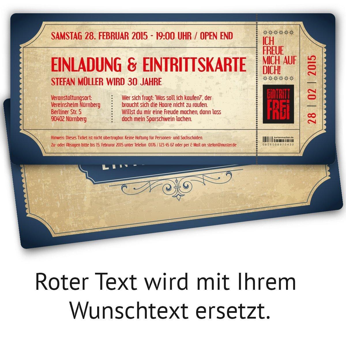 Einladungskarten zum Geburtstag (60 Stück) als Eintrittskarte im Vintage Ticket Ticket Ticket Look B00NPY2GBY | Discount  | Verschiedene  | Ausgezeichnete Qualität  6ef519