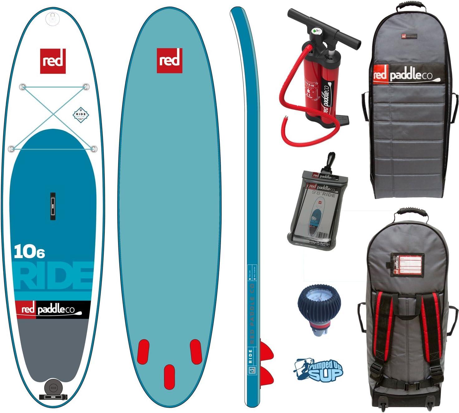Includes Bundle Backpack Red Paddle Co Ride MSL 106 x 32 SE ERS Pressure Gauge Pumped Up SUP Sticker 2019 Series Titan Pump