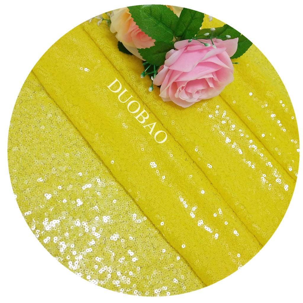 DUOBAO Sequin Fabric for Sewing Glitter Backdrop Yellow 10 Yards Sequin Material Fabric 2 Way Stretch Sequin Fabric by The Yard