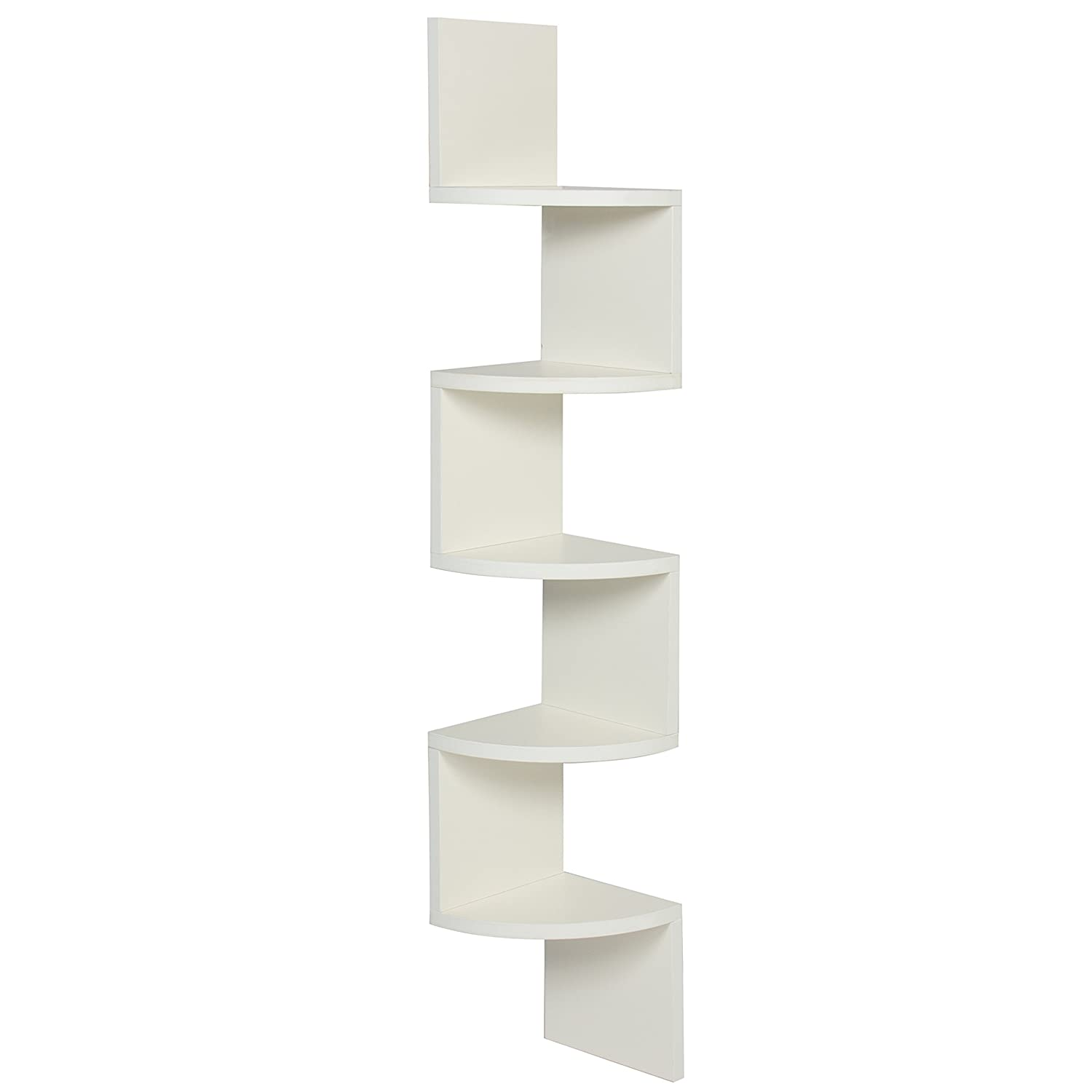 Amazon best choice products large corner wood zig zag wall amazon best choice products large corner wood zig zag wall shelf white finish home decor furniture home kitchen amipublicfo Images