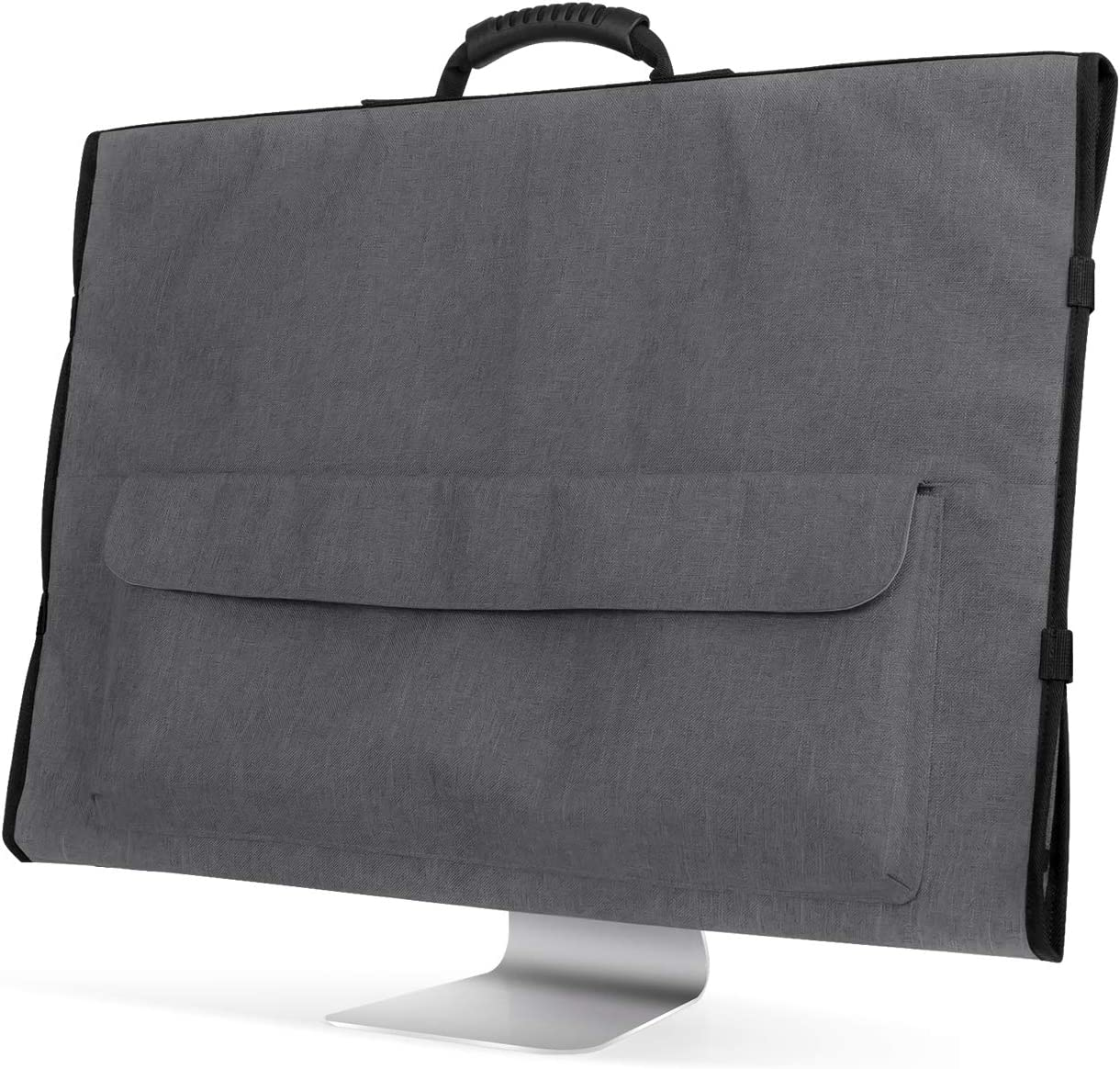 Protective Storage Bag Monitor Dust Cover with Rubber Handle for 21.5 iMac Screen and Accessories Gray Curmio Travel Carrying Case for Apple 21.5 iMac Desktop Computer
