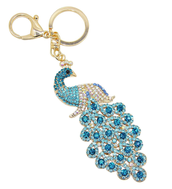 Cygoshop Chinese Peacock Metal Bling Crystals Rhinestone Keychain Keyring  Keyfob Charm For Handbags (Blue)  Amazon.co.uk  Clothing 425d13b24d