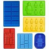 Juego de 6 moldes de silicona con forma de robot y de ladrillos de juego de construcción para hacer cubitos de hielo, figurillas de chocolate y caramelos