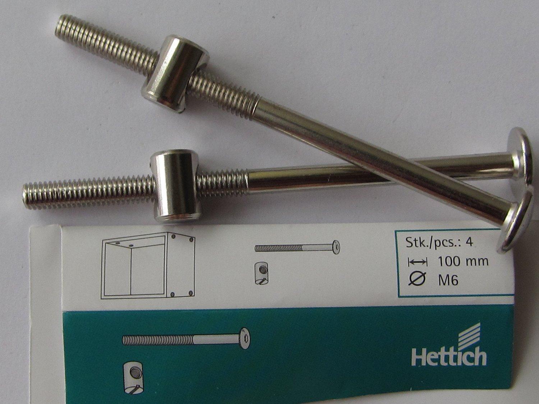 Hettich Verbindungsbeschlag mit Flachkopf und Kloben, M6 x 100 mm, Stahl verzinkt, 4 Stü ck, 9100645