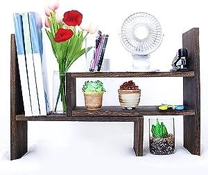 Adjustable Display Bookshelf Double Shelf Wooden Desk Organizer Storage Rack Desktop Rack Home Decor Wood Display Shelves (Brown)