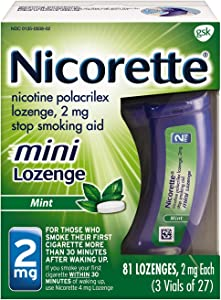 Mini Nicorette Nicotine Lozenge Stop Smoking Aid, 2 mg, Mint Flavored Smoking Cessation Product, 81 Count