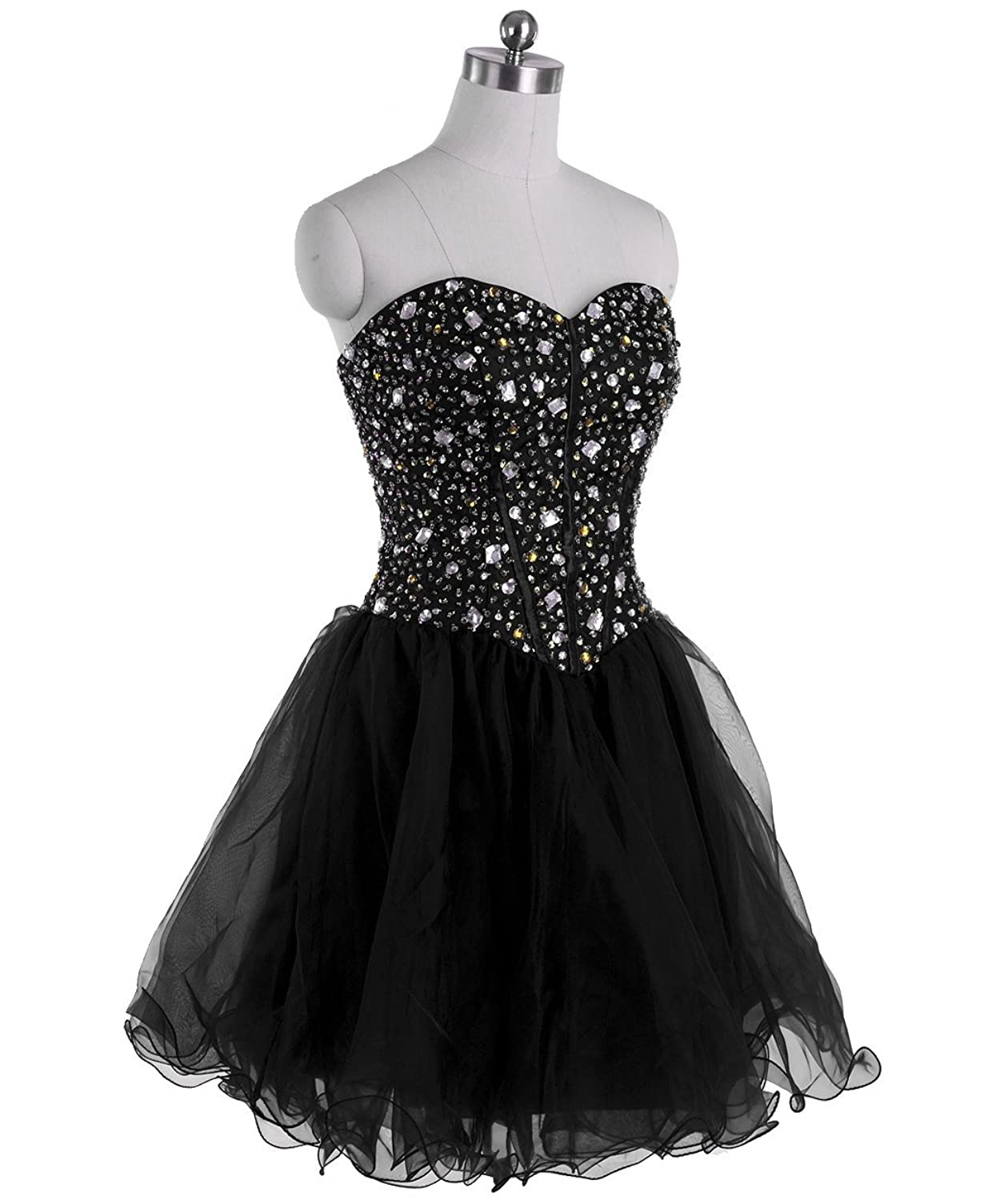 Vampal Black Strapless Sweetheart Short Prom Dress With Corset Jeweled Bodice