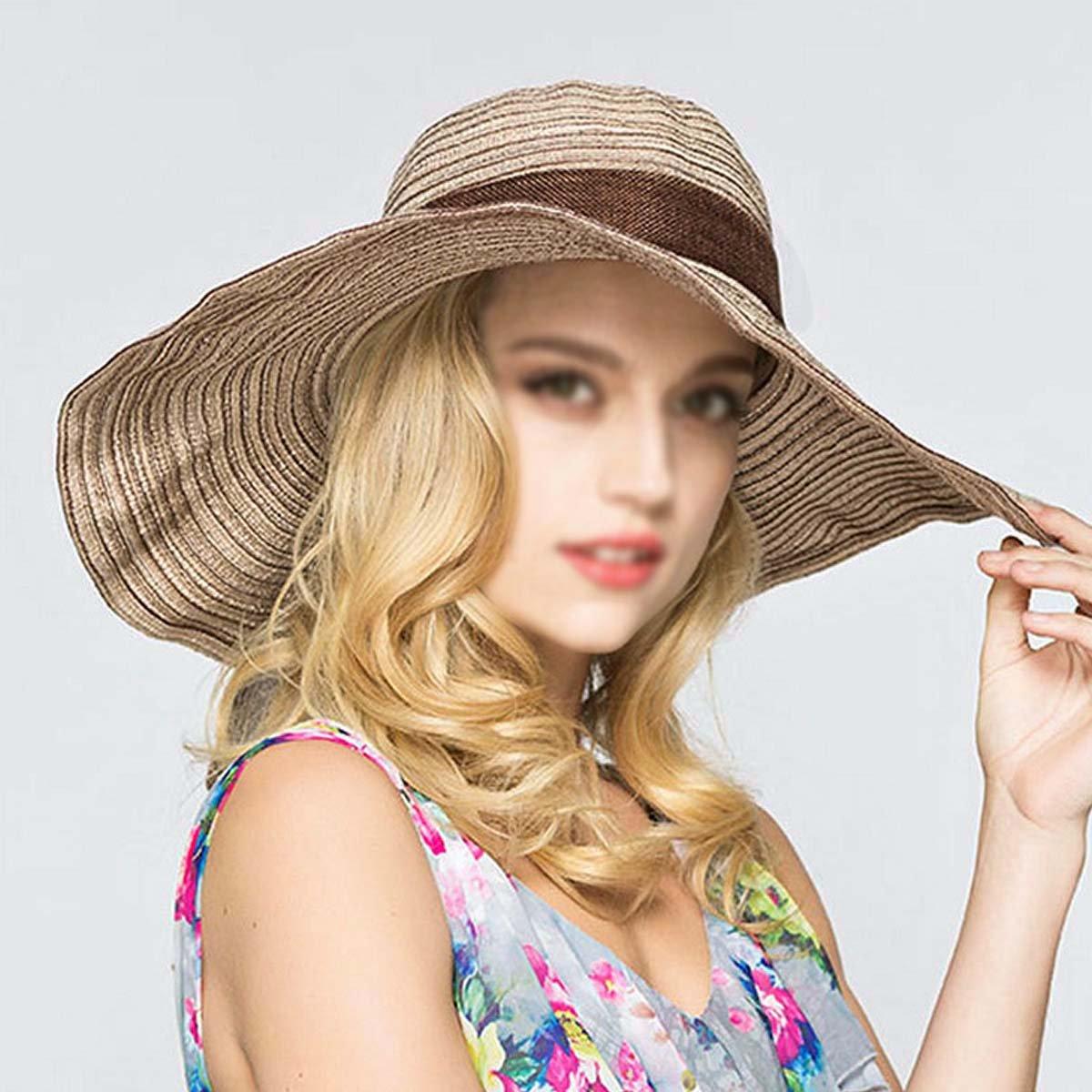CLARA Women Straw Sun Hat Foldable Wide Brim Summer Beach Hat Bowknot Floppy Sun Visor Hat Cap