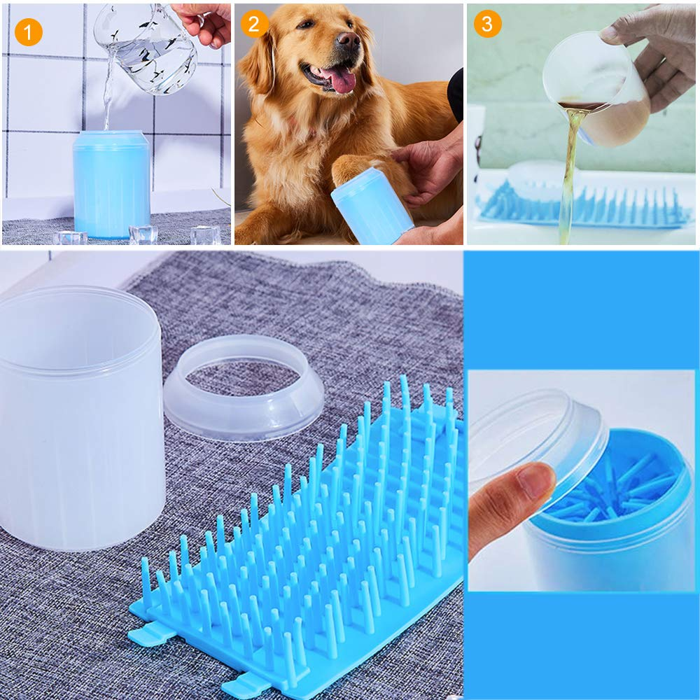 Mini port/átil Azul Souarts Paw Cleaner lavador de Patas de Perro Cepillo de Limpieza para Mascotas Silicona Limpiador de Patas de Perro