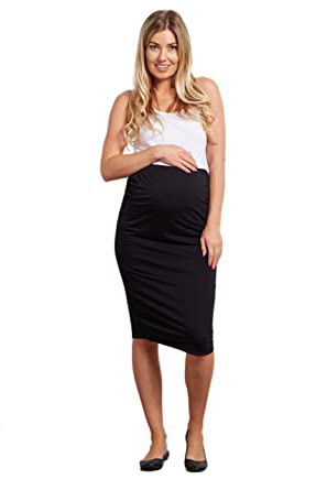 18889d38d4d92 PinkBlush Maternity Charcoal Fitted Pencil Skirt at Amazon Women's ...