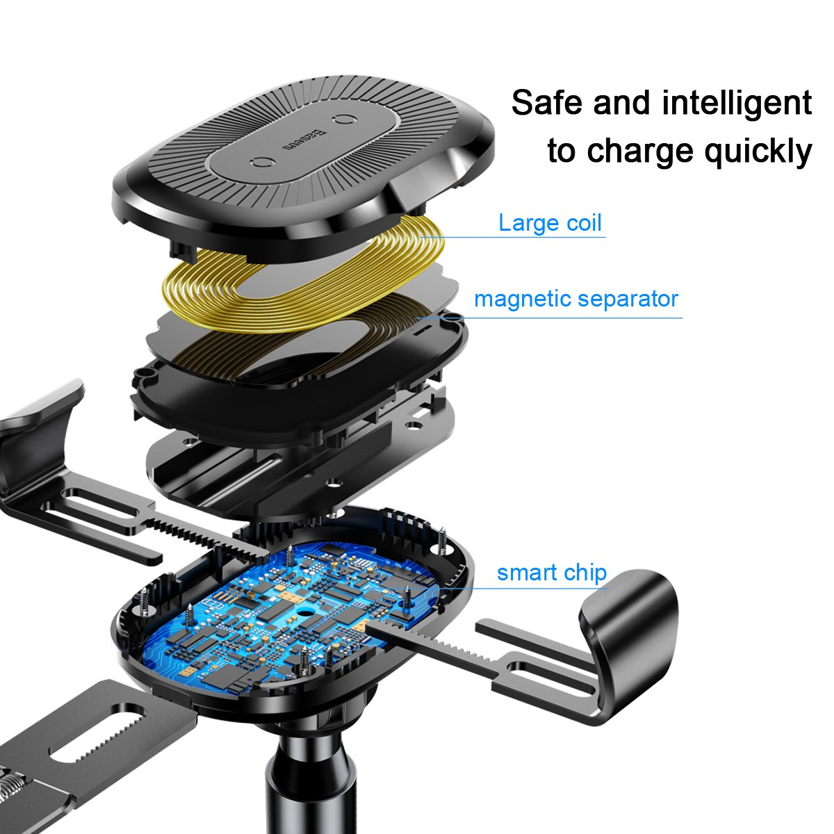 Auto Clamping 10W Qi Fast Charging Phone Holder Gravity Sensor Dashboard Cell Phone Holder for iPhone Xs Max//Xr//Xs//X//8 Plus//8 Baseus Wireless Car Charger Mount Samsung Galaxy S10//S10+//S10e//S9//S9+