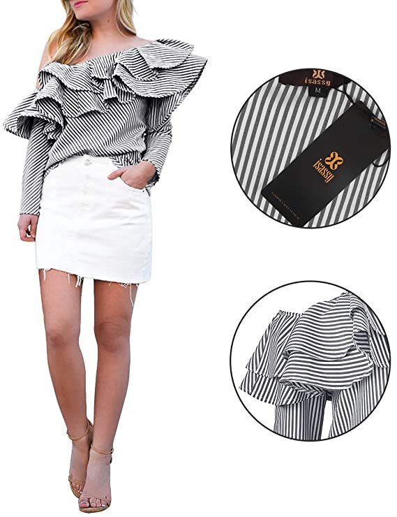 cc55d58ae00 ISASSY Women's Off Shoulder Ruffle Frill Long Sleeve Striped Bardot Tops  Blouse Shirt Tee Black M(UK8-10)/(EU36-38): Amazon.co.uk: Clothing