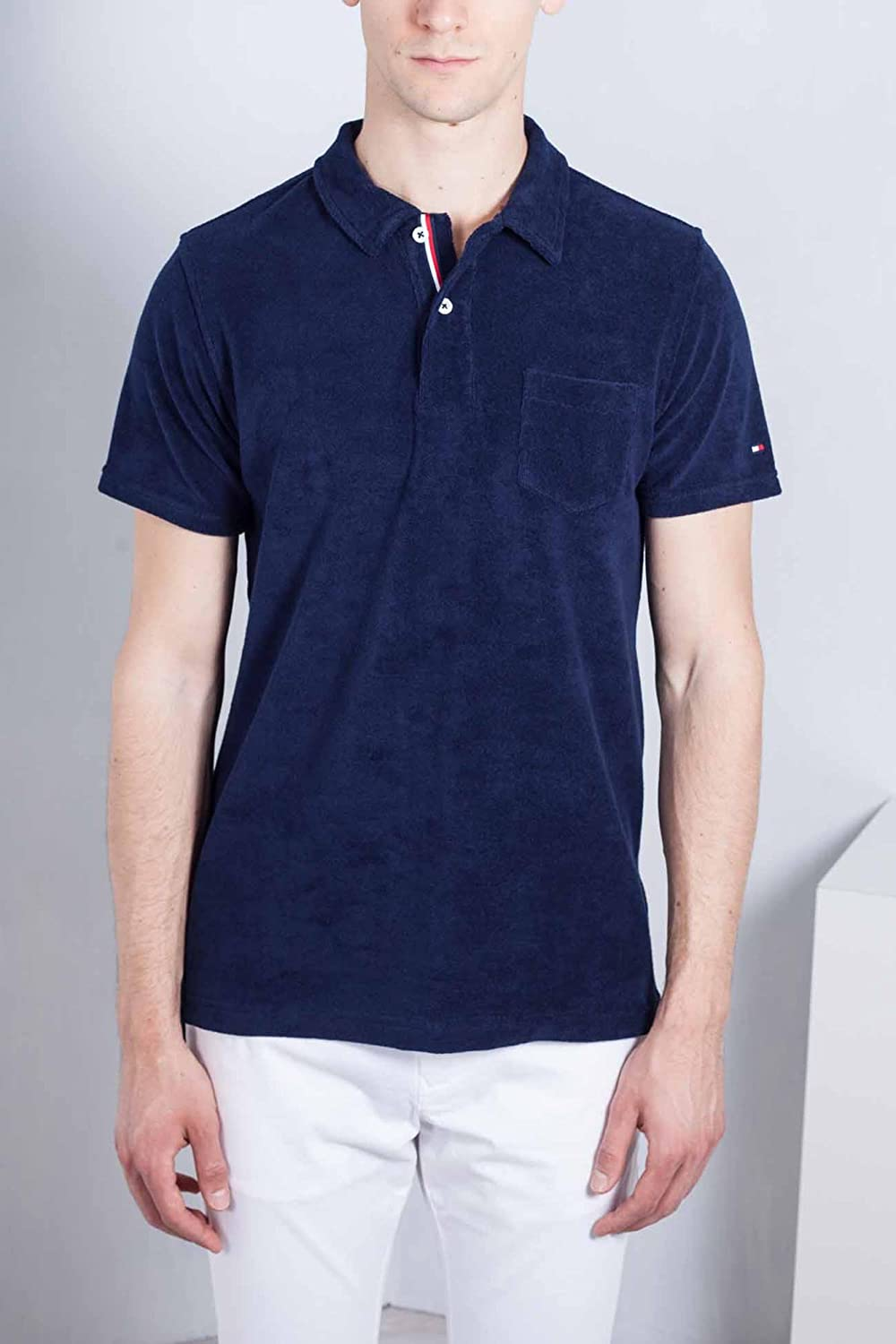 TOMMY HILFIGER Men - Cotton blend towel slim navy blue polo shirt ...