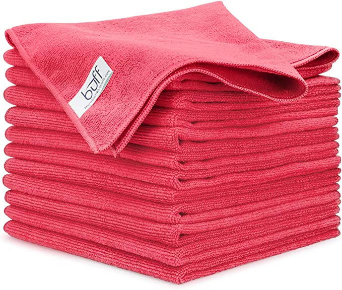 "6pcs Elite Microfiber Towel Soft Plush Cleaning Rag 16/""x16/"" Black//red Trim new"