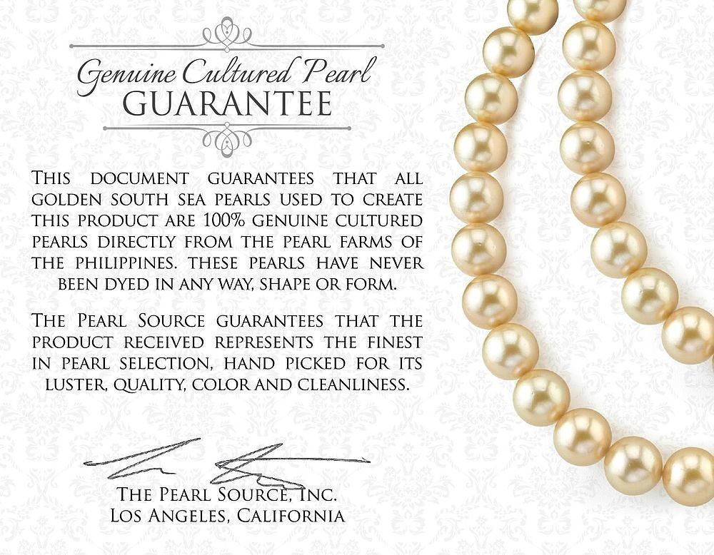 THE PEARL SOURCE 14K Gold 9-10mm Round Genuine Golden South Sea Cultured Pearl Necklace in 18'' Princess Length for Women by The Pearl Source (Image #4)
