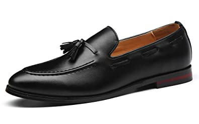 47b9577d7a SANTIMON Mens Fashion Loafers Leather Casual Tassel Slip on Driving Flats  Dress Shoes Black 5.5 D