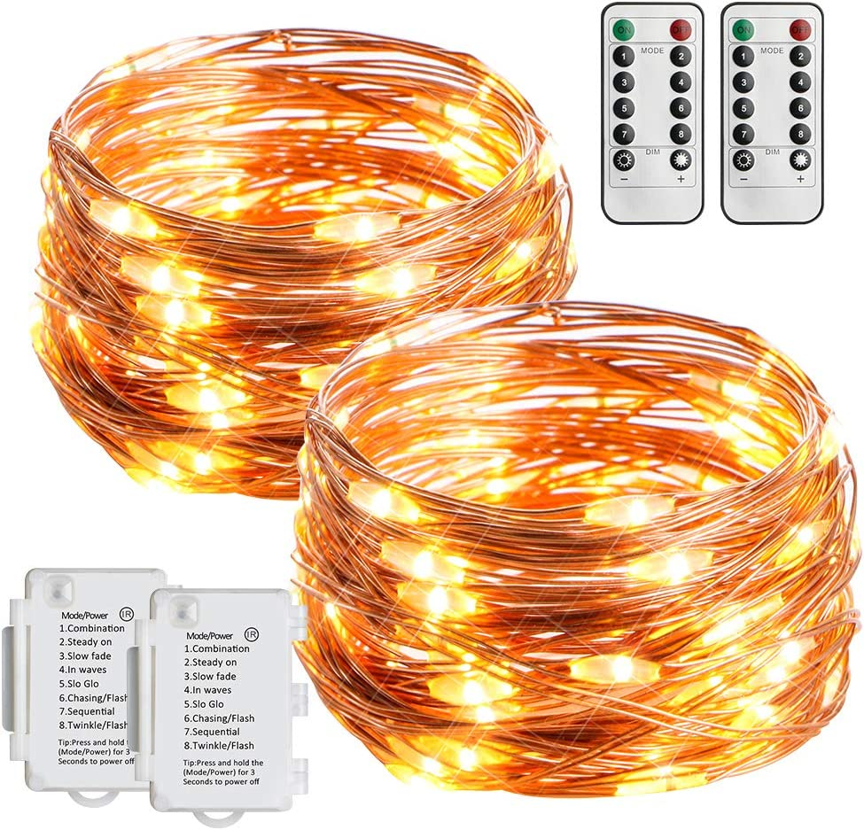 STARKER 2 Pack Outdoor String Light Battery Operated String Lights 16ft 50 Led Waterproof Decorative Copper Wire Lights for Gardens, Gate, Yard, Party, Wedding, Christmas [Remote and Timer]