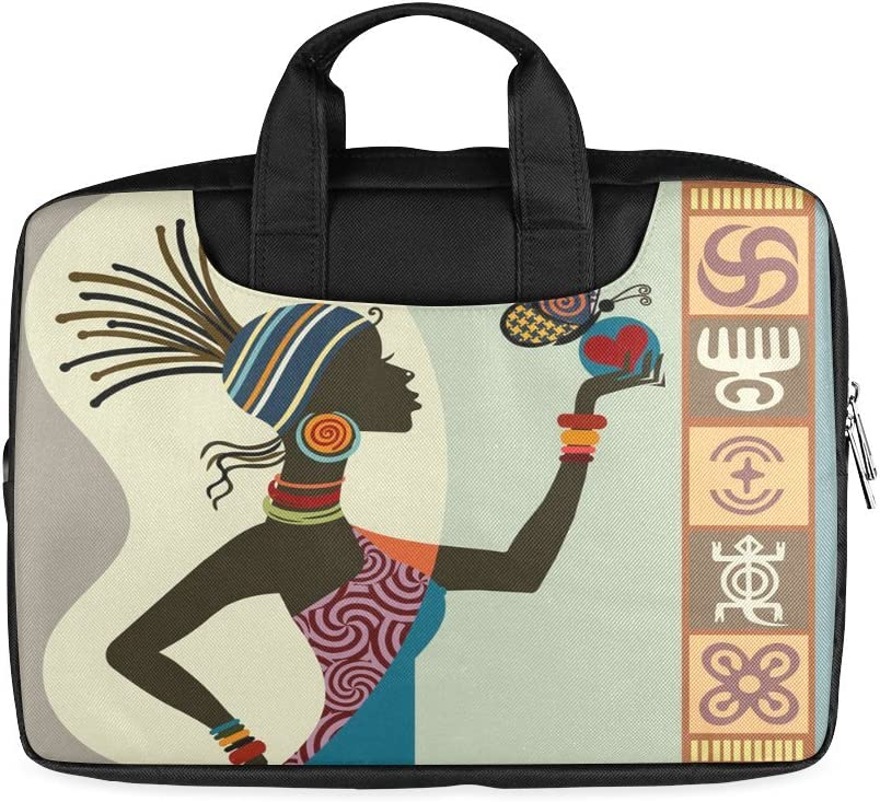 Twin Sides Printing African woman Laptop Notebook Handle Sleeve Bag Case Cover for 15 MacBook Pro