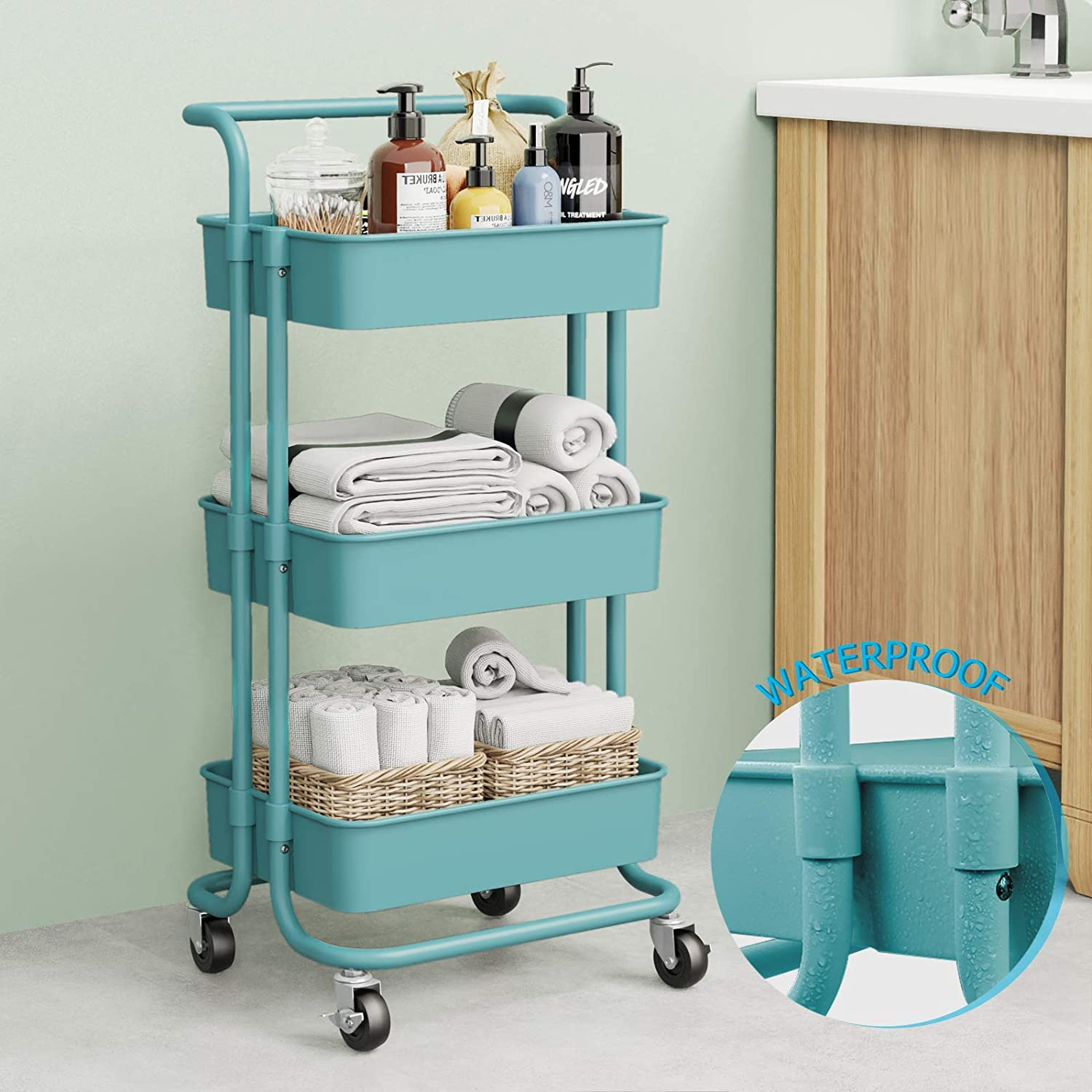 3 Tier Rolling Cart Rolling Utility Storage Cart with Handles and Roller Wheels for Kitchen, Storage (Blue)