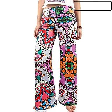 b87b30b30a0b Femme Pantalon Large Vintage Fashion Impression Pantalon Ete Elégante Pants  Désinvolte Confortable Bouffant Pantalon De Loisirs Spécial Style Wide Leg  ...