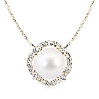 Angara Floating Freshwater Cultured Pearl Pendant with Diamond Halo 5hShRmG