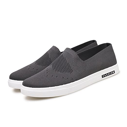 Men Air Mesh Lightweight Casual Shoes Breathable Slip On Loafers Hollow Out Solid Color Flats