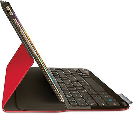 Logitech - Funda con teclado AZERTY para tableta Samsung Galaxy Tab S 10.5 (no incluida), color rojo