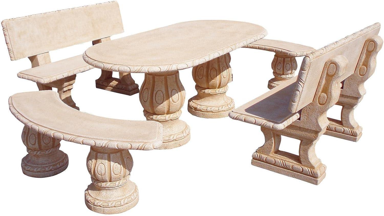 Mesa Comedor DE Jardin con 4 Bancos DE Piedra Artificial con Fibra.Mesa + 4BANCOS Desmontable Fresno Color (Natural): Amazon.es: Hogar