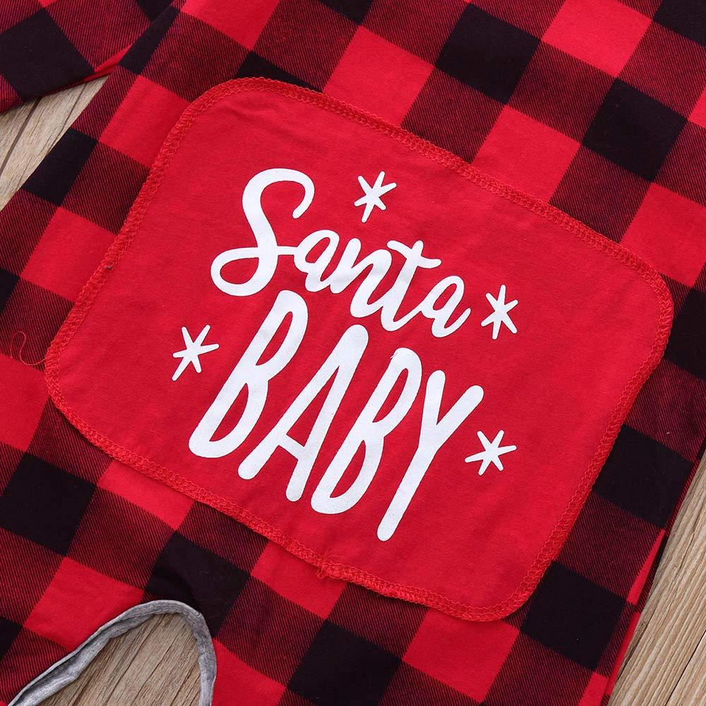 Jchen TM Newborn Baby Girls Boys Christmas Santa Xmas Letter Plaid Print Romper Jumpsuit for 0-24 Months