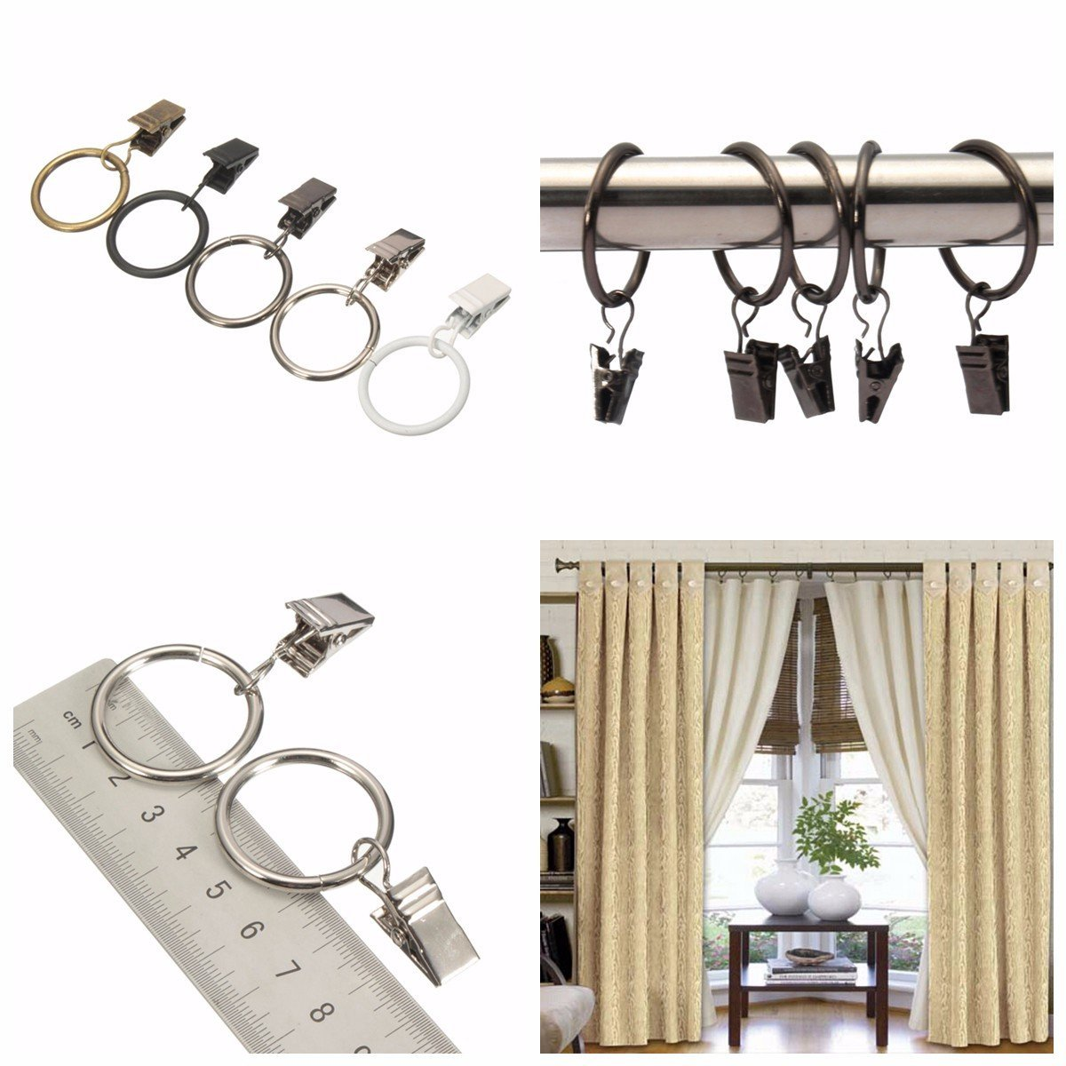 Drapery Snip - 40pcs Metal Window Bathroom Curtain Clip Pole Rod Voile Drapery 25mm Inner Diameter - Pall Lop Time Cut Short Magazine Cartridge Holder Mantle Dress Unknown