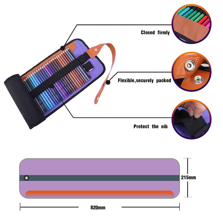 Rock Ninja 72 Lápices de Colores, Incluidos Lona Negra Premium Enrollable, Sacapuntas, un Perfecto para Niños, Estudiantes, Artistas y Pintores, con ...