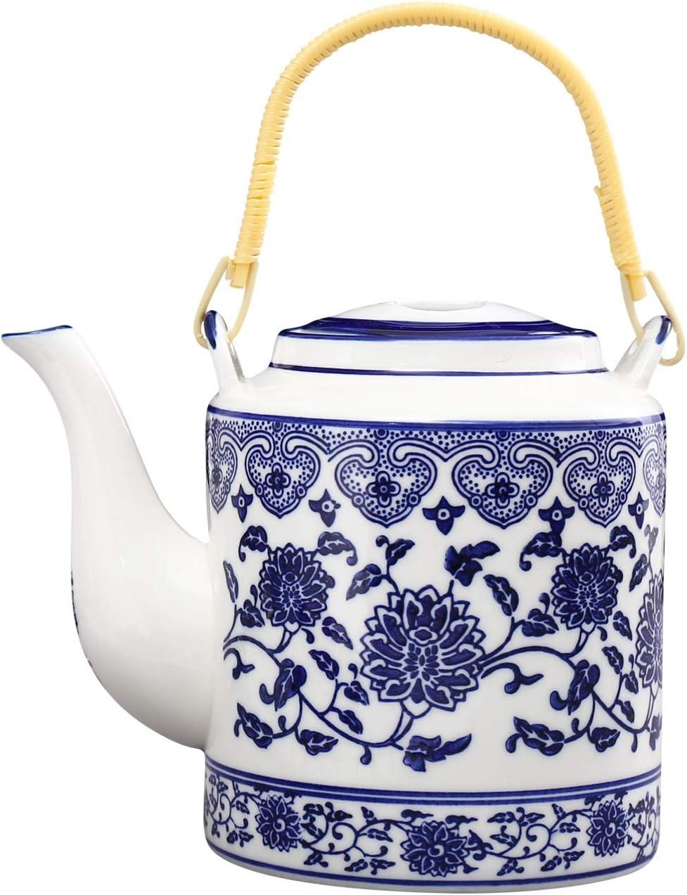 ufengke 30oz Blue and White Porcelain Tea Pot,Large Ceramic Tea Pot for Kungfu Tea,Blue Flowers Ceramic Lifting Beam Pot