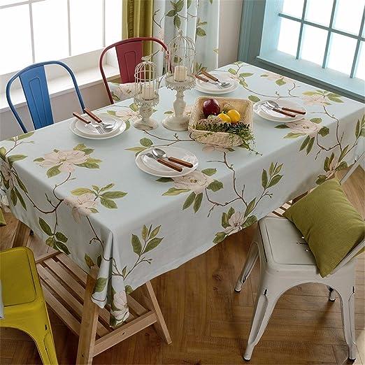 HXC Home Azul Claro Floral Flor Mantel algodón Lino Francés Mesa ...