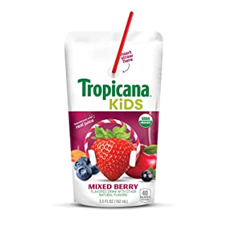 Tropicana Kids Organic Juice Drink Pouch, Mixed Berry, 5.5 Ounce, 32 Count