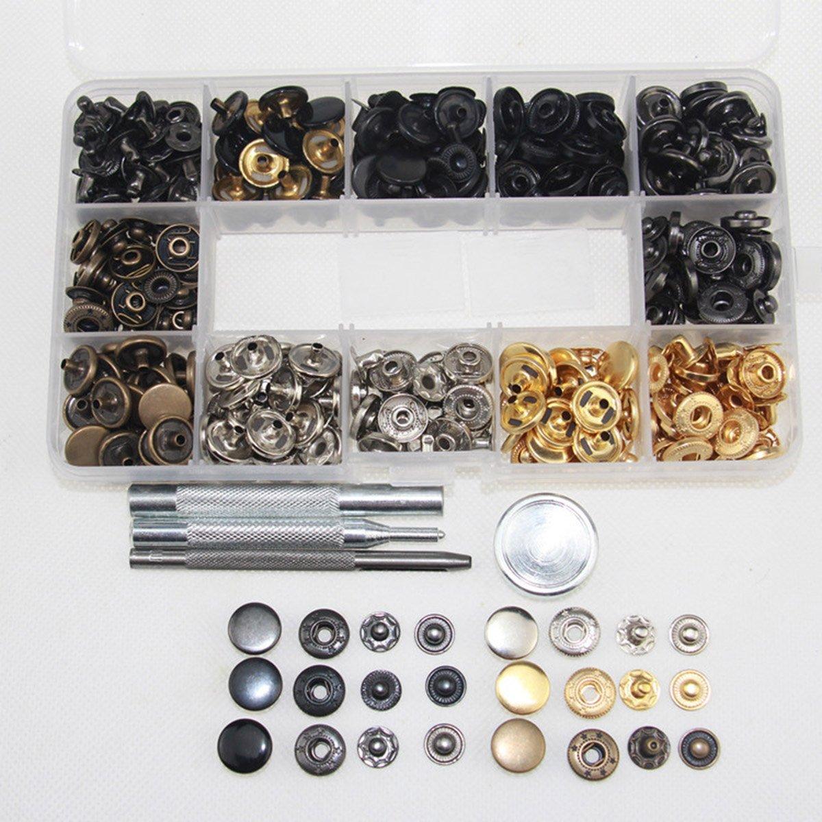 120pcs Botones de Metal,Metal Snap Botones de presi/ón,Cap Remaches Tubular de Remache,4pcs instalan herramienta para cuero DIY sombrero botones de metal con caja de almacenamiento mochila
