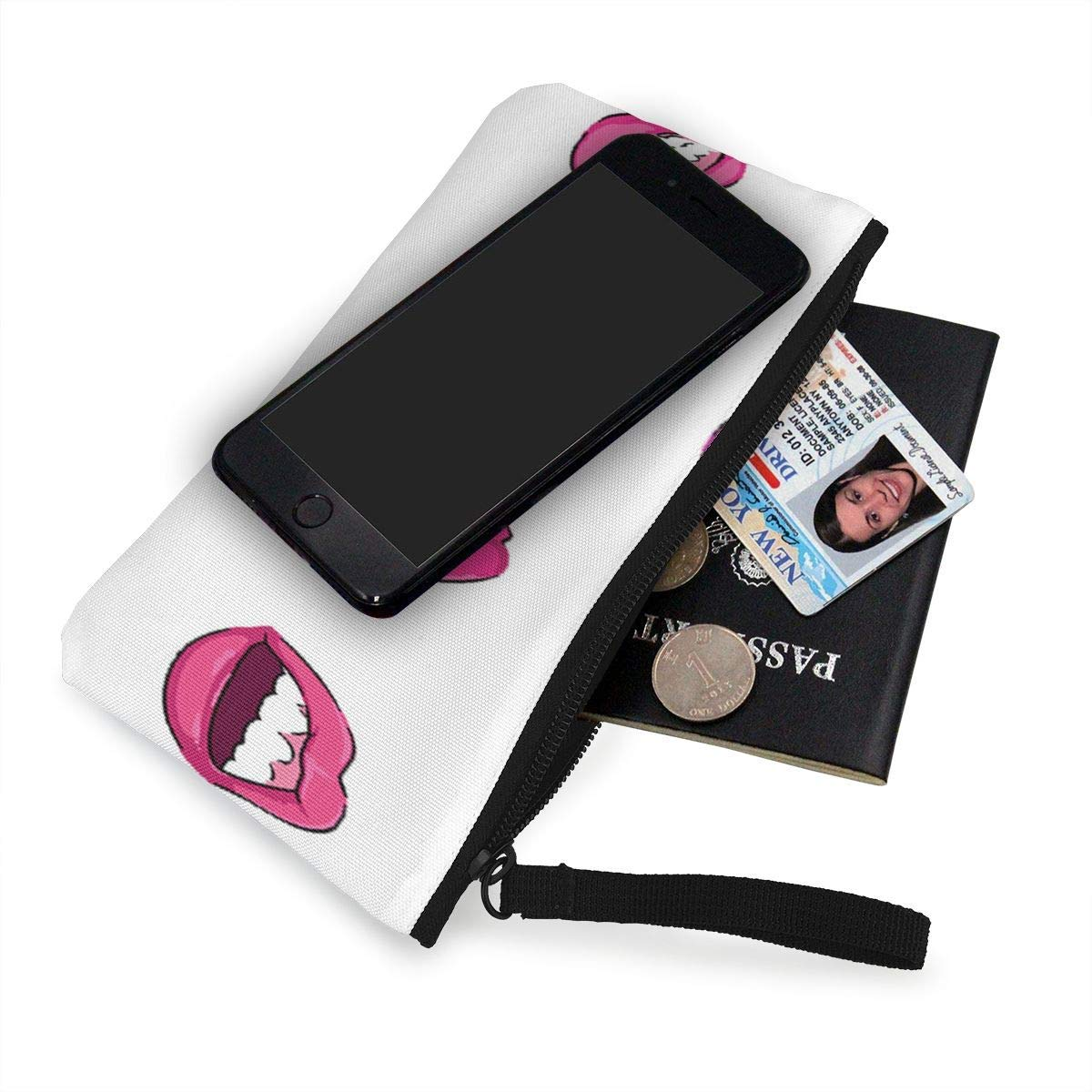 Coin Purse Pop Art Style Lips Ladies Zip Canvas Wallets TravelFantastic Bag