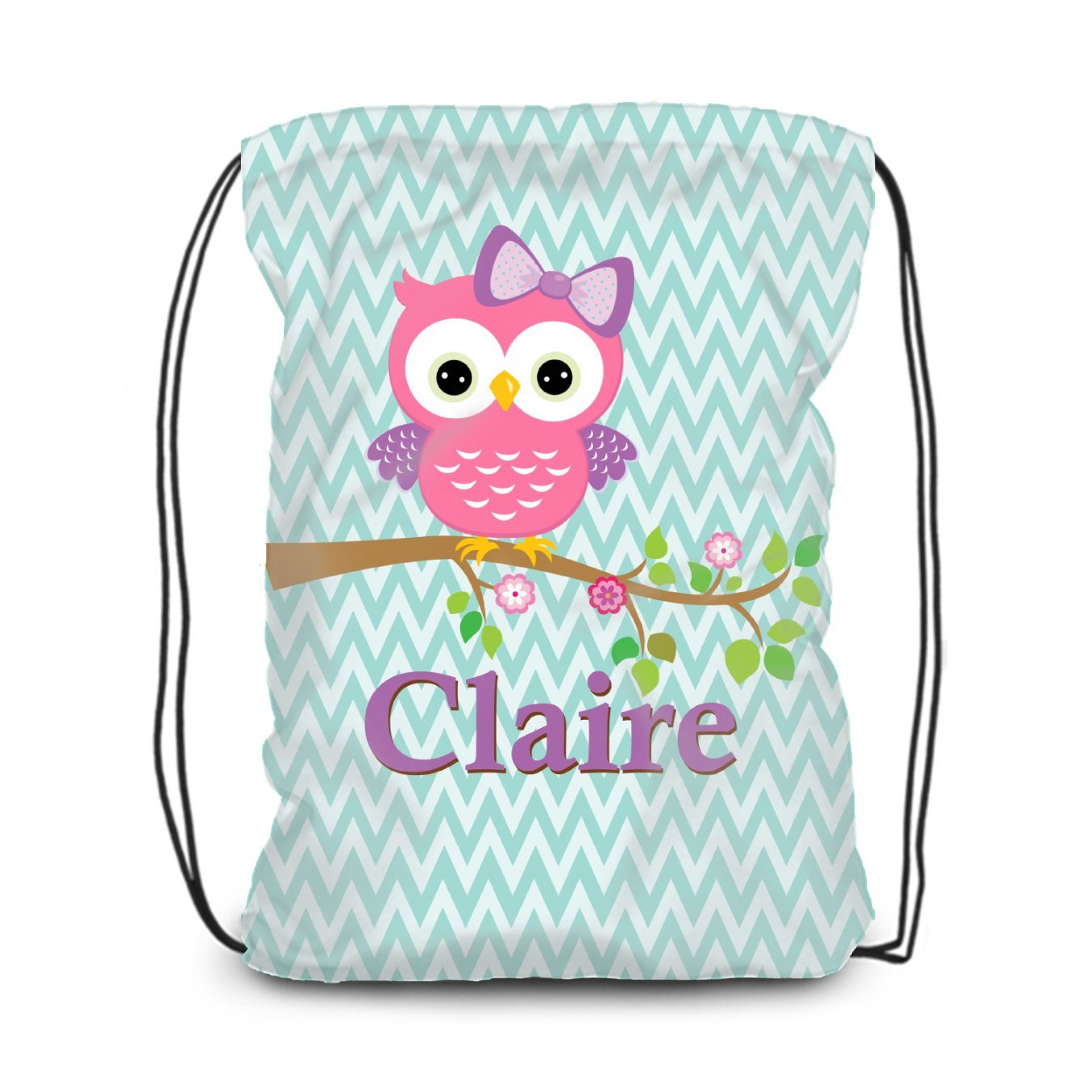 Owl Drawstring Backpack - Pink Owl Personalized Name Cinch Sack Bag
