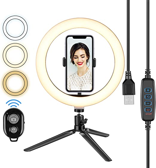 10 LED Selfie Ring Light with Stand,Dimmable Desktop Circle Light /& Flexible Phone Holder Tabletop Halo for YouTube Video//Live Streaming//Makeup//Tiktok//Photo 120 Bulbs for iPhone /& Android Phones