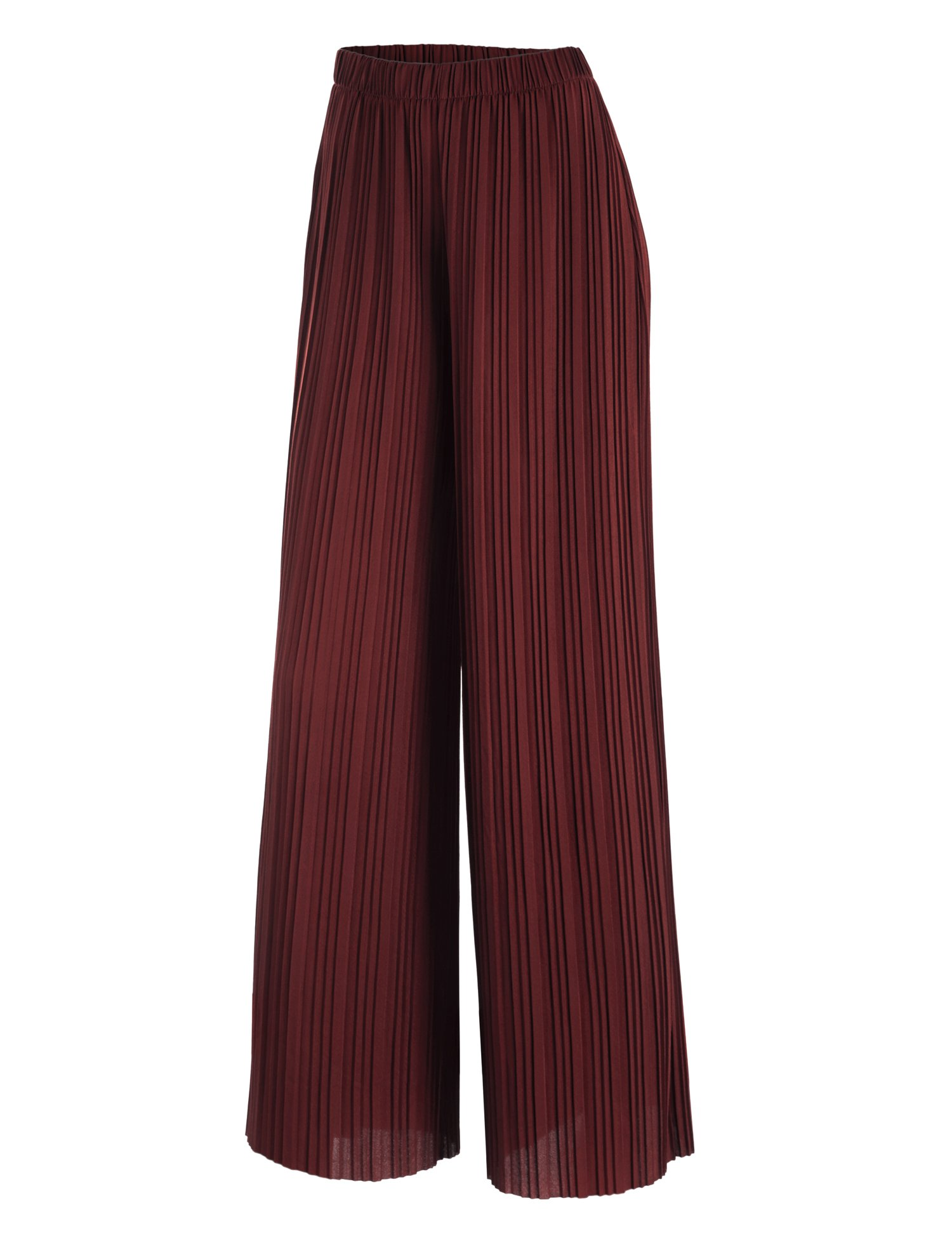 WB1795 Womens Pleated Wide Leg Pants with Elastic Waist Band-Made in USA L Wine by Lock and Love (Image #1)