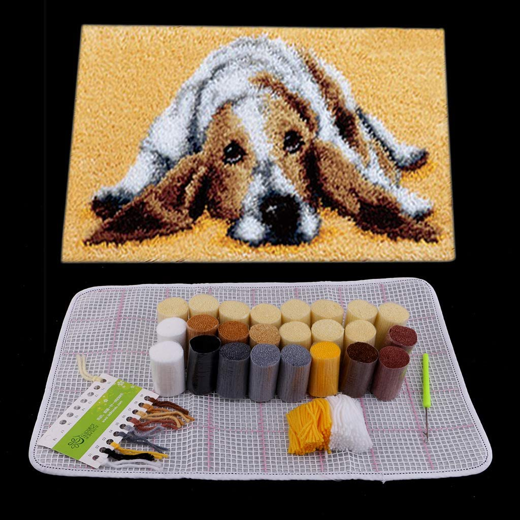 dailymall Puppy Dog Latch Hook Rug Kit Animal Latch Hook Kits with Printed Canvas DIY Mat Needlework Yarn Cushion Embroidery Home Decor