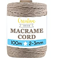 Creative Deco 100 m Donker Beige Macrame Koord Katoenen Koord | 2-3 mm (+-0.5 mm) Dikte 15-laags Koord | 328 Voeten…