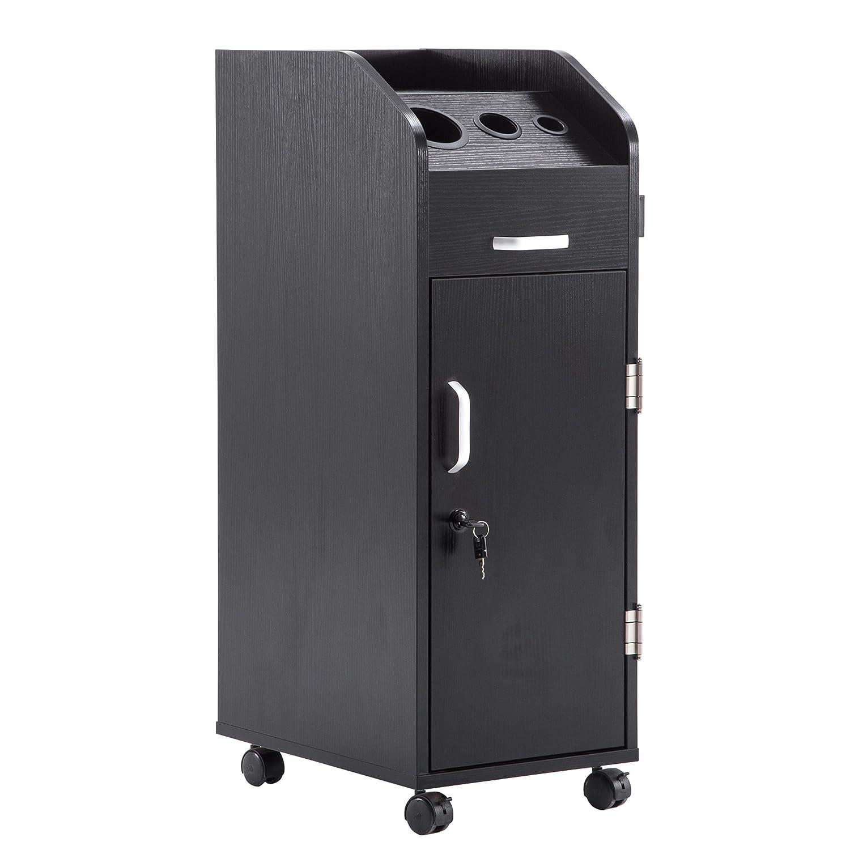 BarberPub Beauty Salon Trolley Storage Cart Hair Dryer Holder Stylist Equipment with Lockable Rolling Wheels, Drawer (Black)