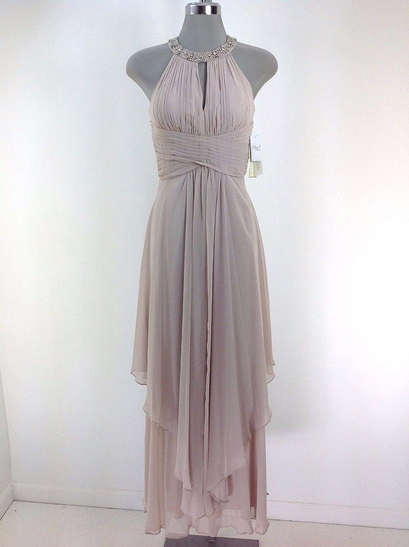Eliza J Women\'s Embellished Tiered Chiffon Halter Gown, Beige, 8 at ...