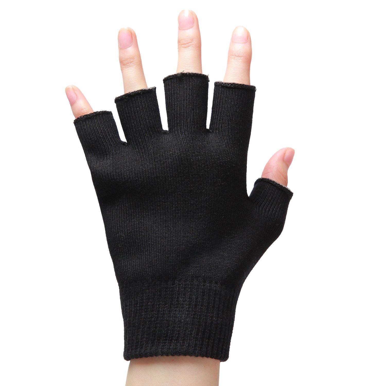 Moisturizing Gloves Fingerless for Dry Hands,Gel SPA Gloves Repair Cracked Skin and Exfoliate Skin,Soften Beauty Hands for Women & Men Overnight,Best Gift for Nurses,Barber and others,Black