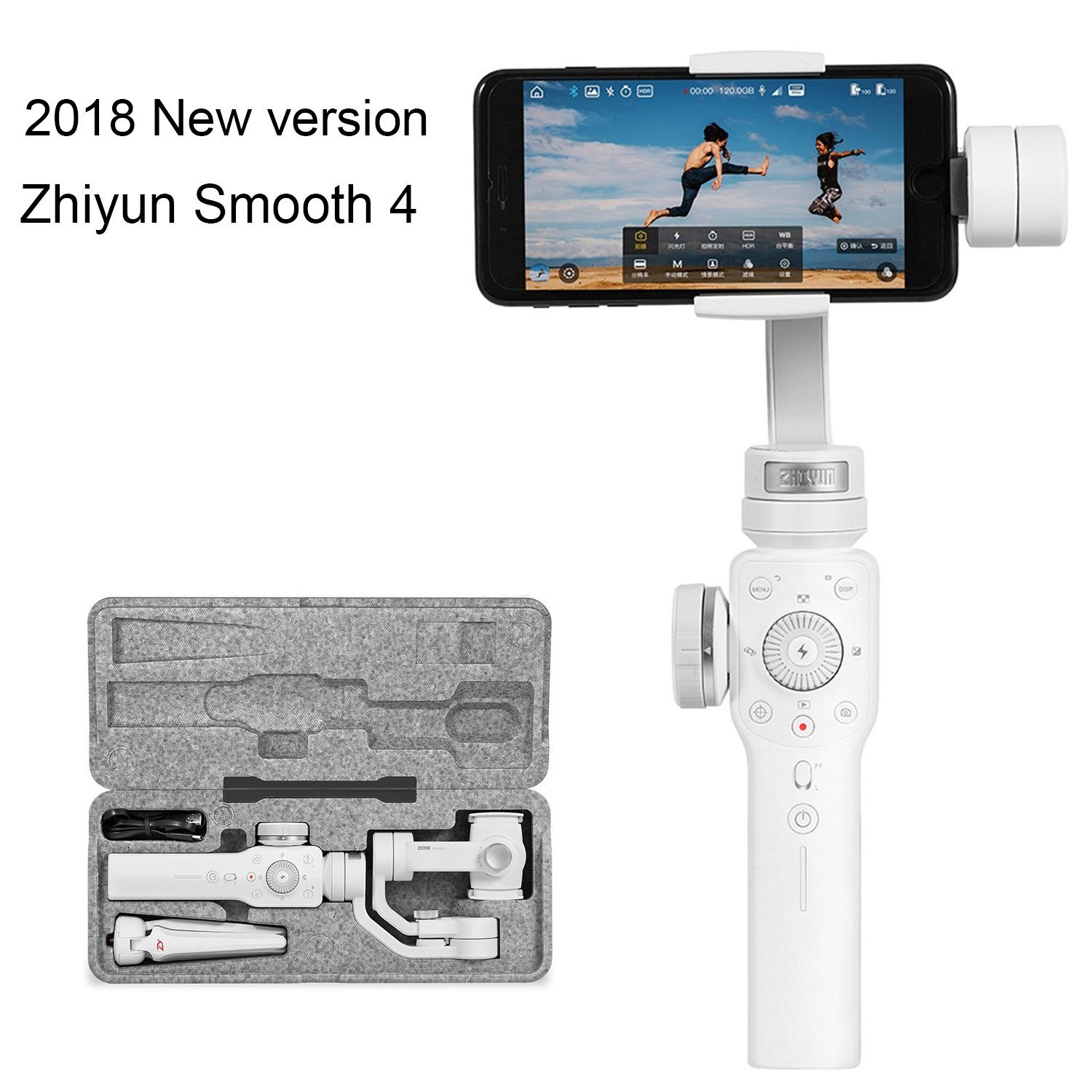 2018 Verson White S9 S8 S8 S7 S6 Q2 Edge New Smooth-Q//III Zhiyun Smooth 4 3-Axis Handheld Gimbal Stabilizer w//Focus Zoom Capability for Smartphone Like iPhone X 8 Plus 7 6 SE Samsung Galaxy S9