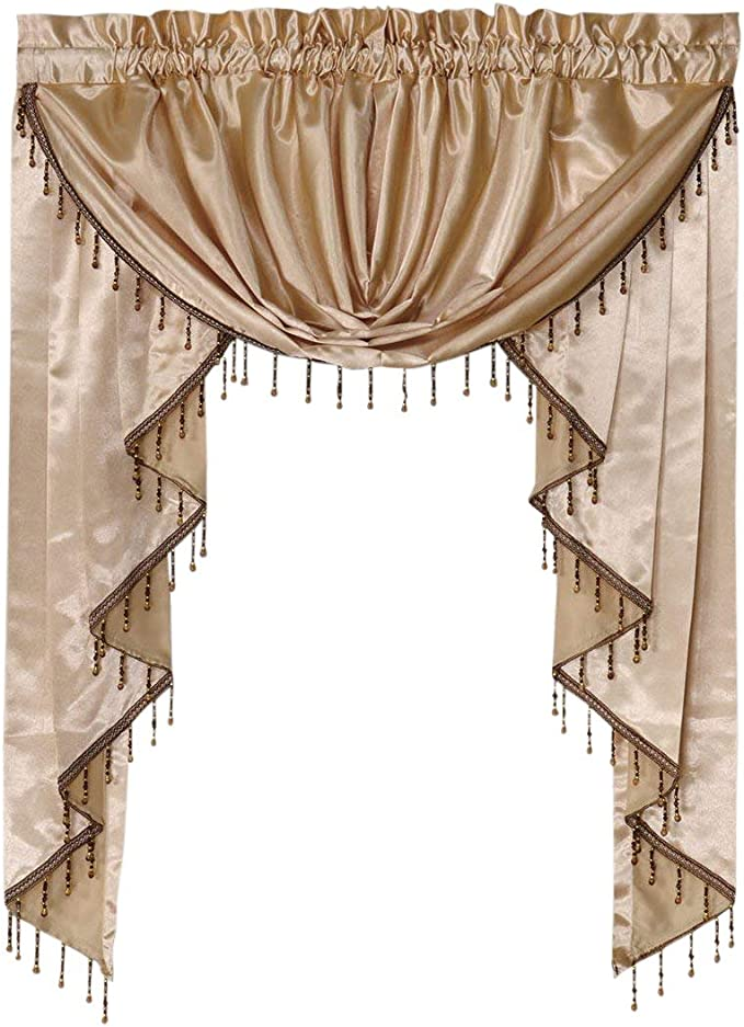 Octorose Royalty Custom Waterfall Window Valance Swags Tails For Your Window Width Less Than 45 Inch Gold Small Window Valance 66x47 Wxh Home Kitchen